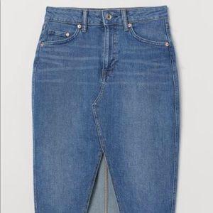 H&M denim front slit skirt